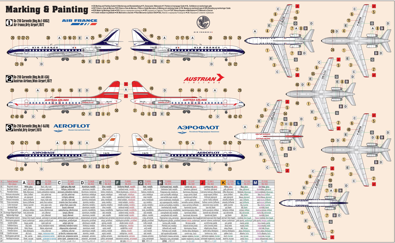 D-28 Se-210 Caravelle Air France , Austrian Airlines,  AEROFLOT