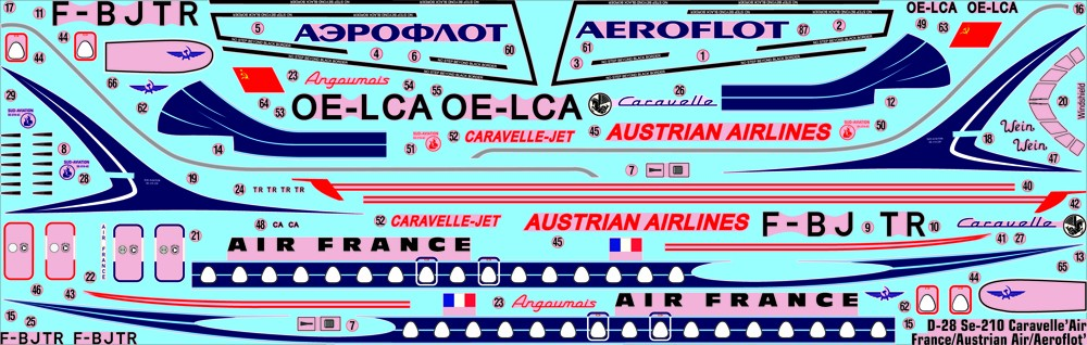 D-28 Se-210 Caravelle Air France , Austrian Airlines,  AEROFLOT