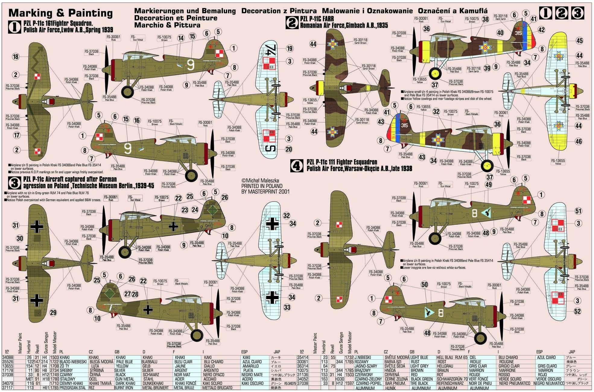 "Polish WWII Fighter PZL P-11c /""September 39/"" # Scale 1//72 # MISTERCRAFT B-07"