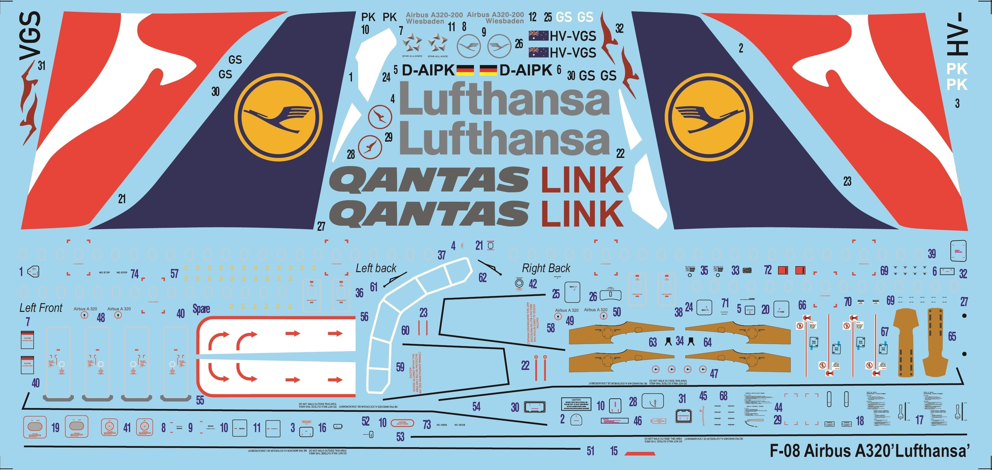 Kalkomanie Airbus A-320-200 Lufthansa and Qantas Airways